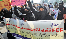 Girl students protest college's closure