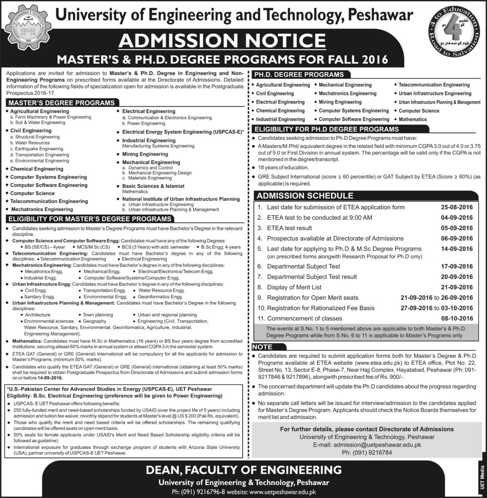 Ph.D & M.Sc admission Notice